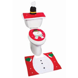 Imperial Home Holiday Themed Snowman Christmas Bathroom Rug and Toilet Seat Cover Set