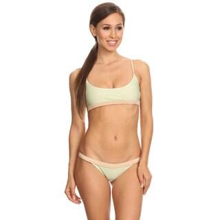 Dippin' Daisy's Women's Spandex Green Hawaiian Strapless Bandeau One Piece Swimsuit