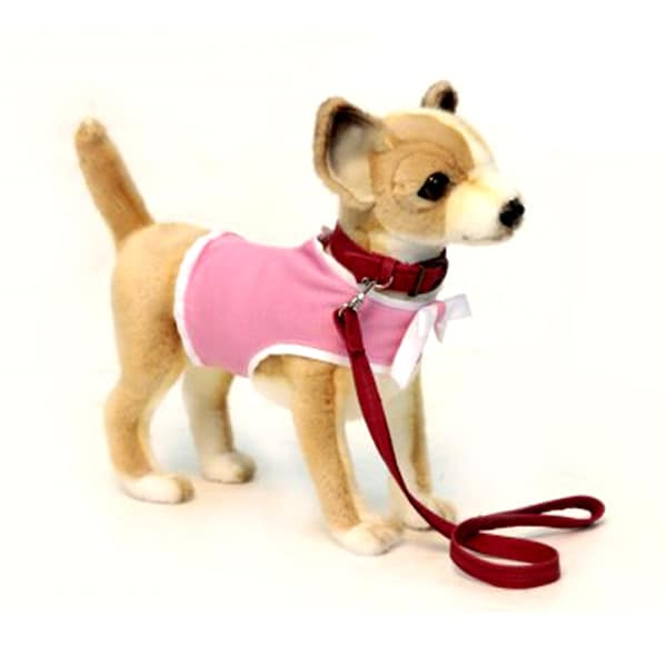 Hansa Chihuahua with Pink Coat and Leash Plush Toy
