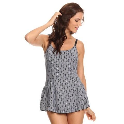 Famous Maker Women's Grey Illusion One-piece Swimdress