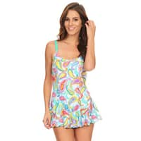 Famous Maker Green Nylon/Spandex Paisley One-piece Swim Dress