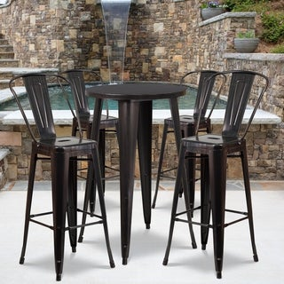 24-inch Round Black-Antique Gold Metal Indoor-Outdoor Bar Table Set with 4 Cafe Barstools