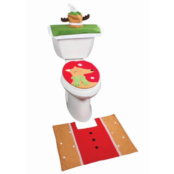 Imperial Home Holiday Themed Christmas Reindeer Bathroom Rug and Toilet Seat Cover Set