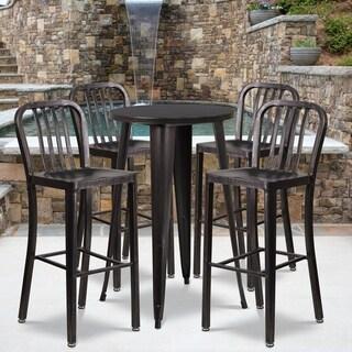 24-inch Round Black-Antique Gold Metal Indoor-Outdoor Bar Table Set with 4 Vertical Slat Back Barstools