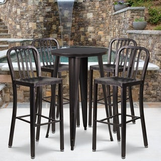 24-inch Round Black-Antique Gold Metal Indoor-Outdoor Bar Table Set with 4 Vertical Slat Back Barstools