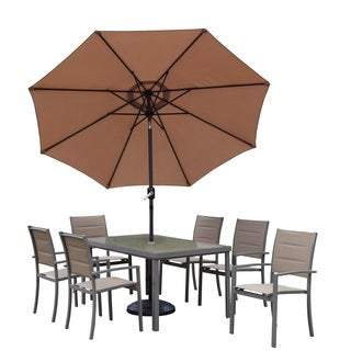 Sydney Padded Sling 9 Piece Set with Tempered Glass Table, 6 Stackable Chairs, 9 ft Umbrella with Tilt & Crank and Metal Stand