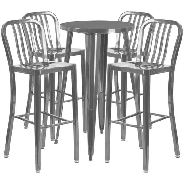 Shop 24 Inch Round Metal Indoor Outdoor Bar Table Set With 4
