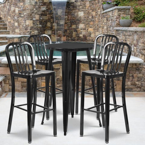 24-inch Round Metal Indoor-Outdoor Bar Table Set with 4 Vertical Slat Back Barstools