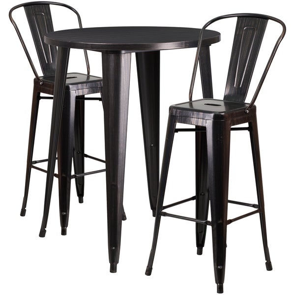 30-inch Round Black-Antique Gold Metal Indoor-Outdoor Bar Table Set with 2 Cafe Barstools