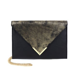 Olivia Miller Women's Liv Black PU Distressed Gold Flap Envelope Clutch Crossbody Bag