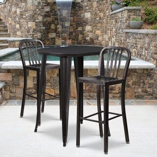 30-inch Round Black-Antique Gold Metal Indoor-Outdoor Bar Table Set with 2 Vertical Slat Back Barstools