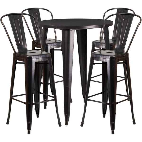 30 Inch Round Black Antique Gold Metal Indoor Outdoor Bar Table Set With