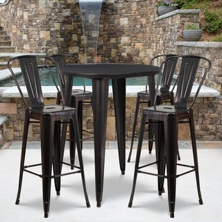 30-inch Round Black-Antique Gold Metal Indoor-Outdoor Bar Table Set with 4 Cafe Barstools