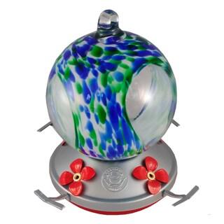 Blue Green Speckled Globe w/Glass Hummingbird Feeder