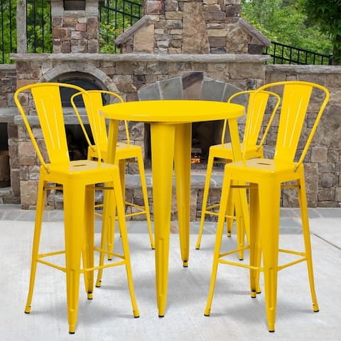 """30"""" Round Metal Indoor-Outdoor Bar Table Set with 4 Cafe Stools - 30""""W x 30""""D x 41""""H"""