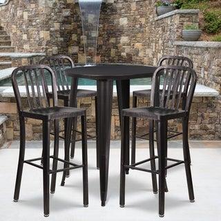 30-inch Round Black-Antique Gold Metal Indoor-Outdoor Bar Table Set with 4 Vertical Slat Back Barstools