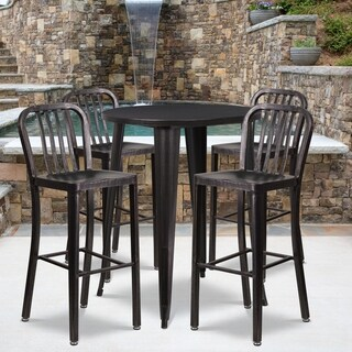 30-inch Round Black-Antique Gold Metal Indoor-Outdoor Bar Table Set with 4 Vertical Slat Back Barstools