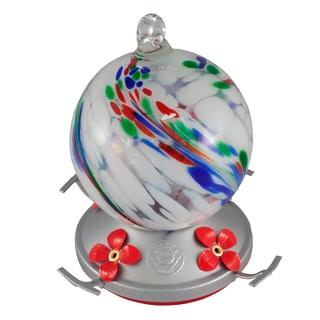 White Color Swirl Blown Glass Hummingbird Feeder