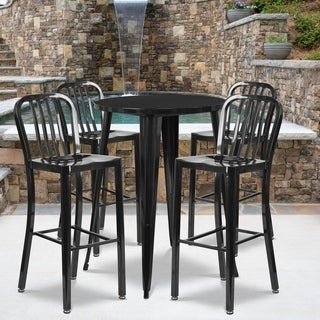 30-inch Round Metal Indoor-Outdoor Bar Table Set with 4 Vertical Slat Back Barstools