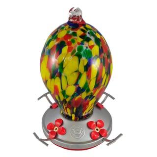 Speckled Egg Blown Glass Hummingbird Feeder