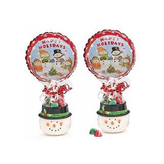 Multicolored Snowman Jar Chocolate Treat Gift Basket