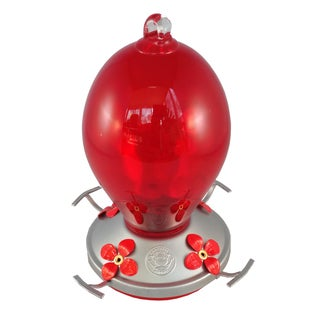 Red Egg Blown Glass Hummingbird Feeder