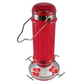 Red Antique Bottle Glass Hummingbird Feeder