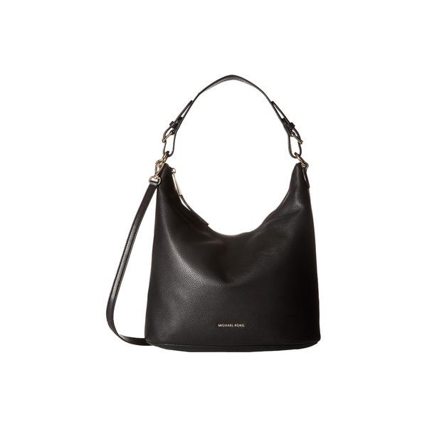 Shop Michael Kors Women s Lupita Black Leather Large Hobo Bag - Free ... 28520ec105f40