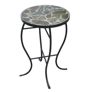 Mosaic Tile Round Side Table with Metal Base