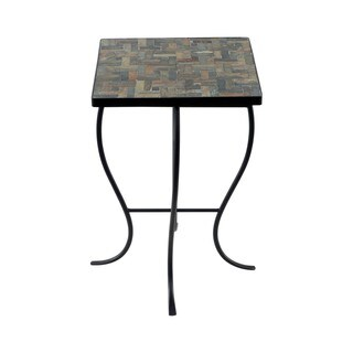 Mosaic Tile Square Side Table with Metal Base
