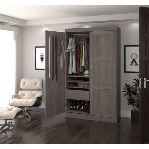 Pur by Bestar 2-door Armoire with Pullout Shoe Rack