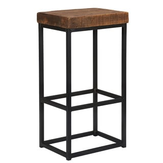 Kosas Home Black/Brown Reclaimed Pine/Iron Porter Barstool