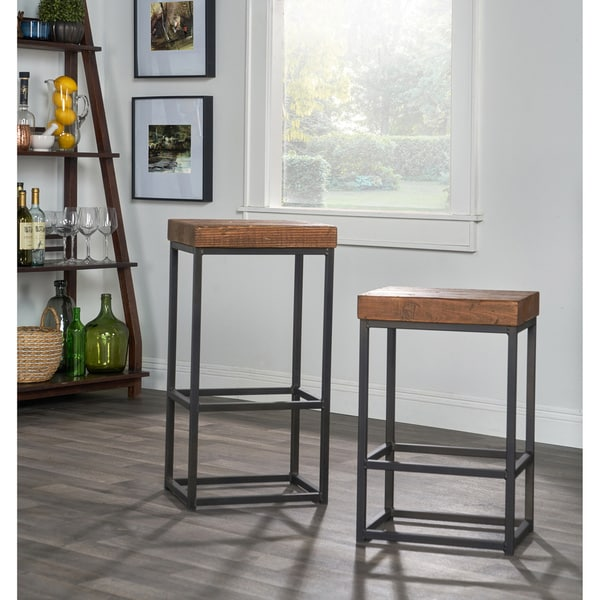 Carbon Loft Richard Reclaimed Wood and Iron Barstool