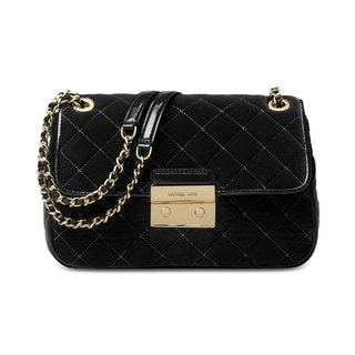 Michael Kors Sloan Black Fabric Large Chain Shoulder Bag