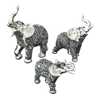 Boho Charcoal Fiesta Silver and Marble Elephant (Set of 3)