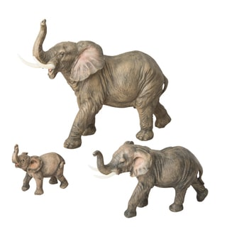 Elephant Natural-looking Polyresin Statues (Pack of 3)