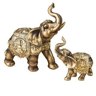 Antique Bronze Polyresin Elephant with Buddha Design (Set of 2)