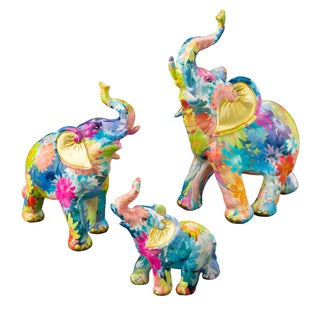 Elephant Rainbow Floral Colored Mini Figurines by Fashioncraft (Set of 3)