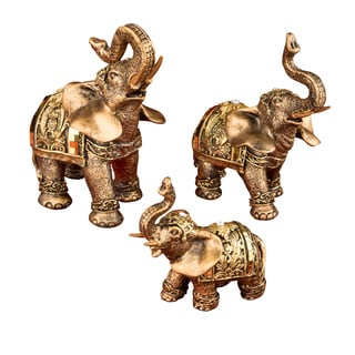 Elephant Gold Mirror Design Figurines with Clear Stones (Set of 3)