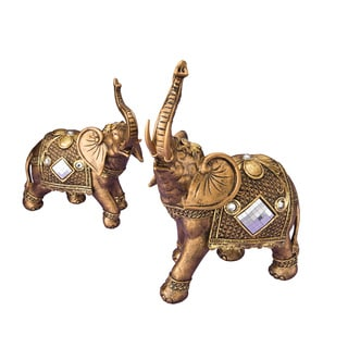 Elephant Gold-tone Polyresin Mirrored Figurines (Set of 2)