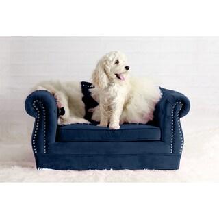 Yorkshire Tufted Blue Velvet Pet Bed