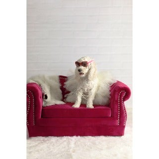 Yorkshire Tufted Pink Velvet Pet Bed