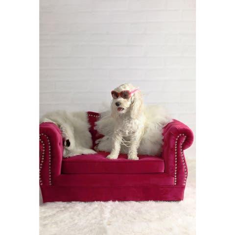 Yorkshire Tufted Pink Velvet Pet Bed