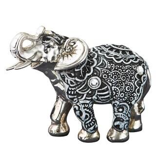 Elephant Boho Charcoal Fiesta Silver/ Marble Figurine