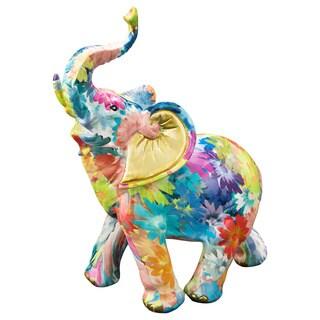 Elephant Rainbow-colored Polyresin Medium Floral Mini Figurine