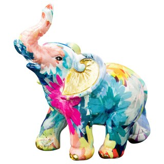 Mini Elephant Rainbow Floral Colored Figurine