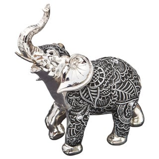 Elephant Boho Charcoal Fiesta Silver and Marble Polyresin Medium Figurine