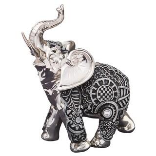 Grey and Silver Polyresin Elephant Figurine