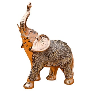 Elephant Glorious Champagne Gold Polyresin Antique Standing Figurine with Clear Stones