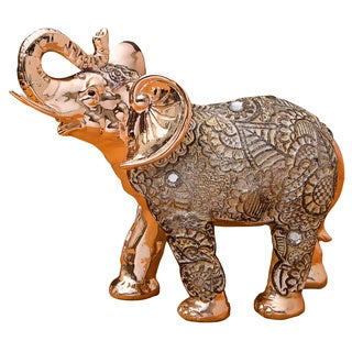 Champagne Gold-tone Elephant Polyresin Antique Standing Figurine
